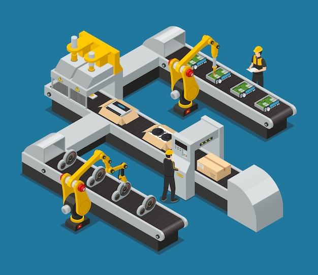 Isometrische fabrikzusammensetzung der farbigen autoelektronikselbstelektronik mit robotisiertem prozess in der fabrik Kostenlosen Vektoren