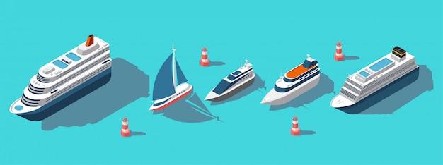 Isometrische fähren, yachten, boote, passagierschiffe eingestellt Premium Vektoren