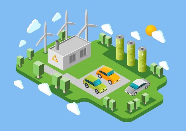 Isometrische fahne der ladestation der elektroautos Kostenlosen Vektoren