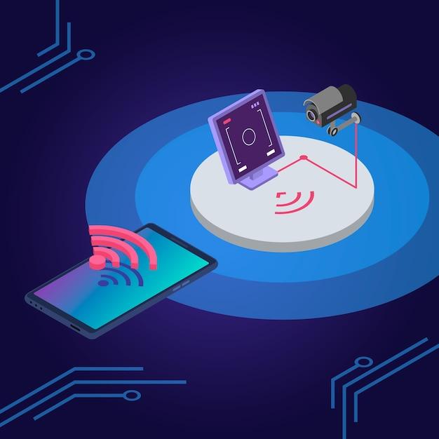 Isometrische farbabbildung des sicherheitssystems. fernbedienung der überwachungskamera, überwachung der smartphone-app. smart home-schutz, alarmsystem 3d-konzept lokalisiert auf blauem hintergrund Premium Vektoren