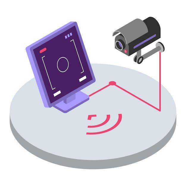 Isometrische farbabbildung des sicherheitssystems. fernbedienung und überwachung der überwachungskamera. cctv-video-beobachtung, hausschutz-3d-konzept lokalisiert auf weißem hintergrund Premium Vektoren