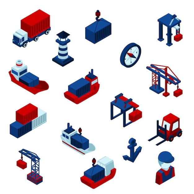 Isometrische farbe seaport icons set Kostenlosen Vektoren