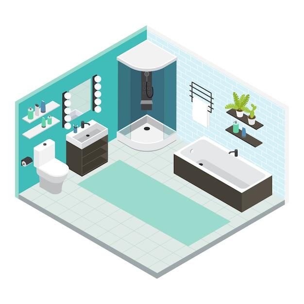 Isometrische farbige badezimmerzusammensetzung mit fertiger reparatur oder reparaturanordnung Kostenlosen Vektoren