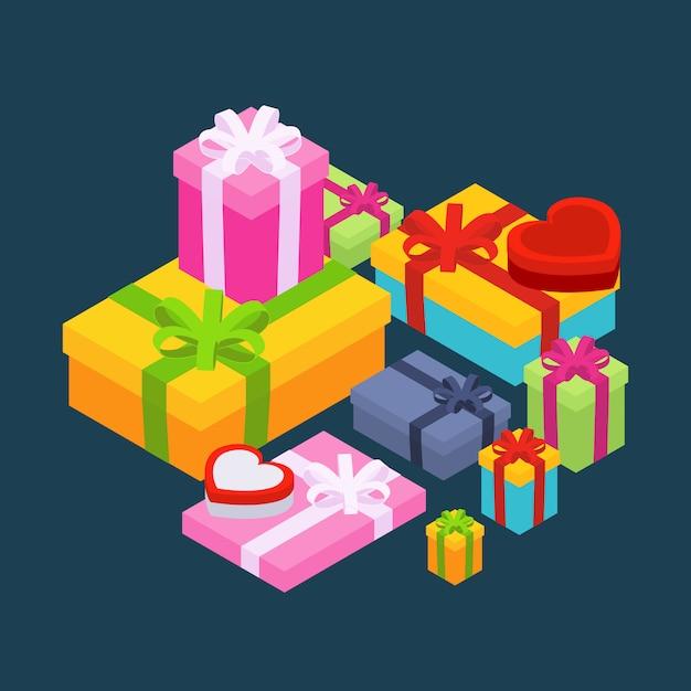 Isometrische farbige geschenkboxen gegen den dunkelblauen hintergrund. abbildung geeignet für werbung und promotion Premium Vektoren