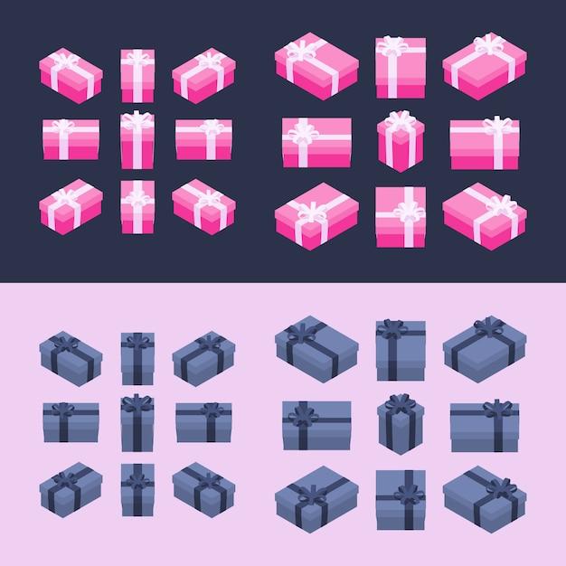 Isometrische farbige geschenkboxen Premium Vektoren