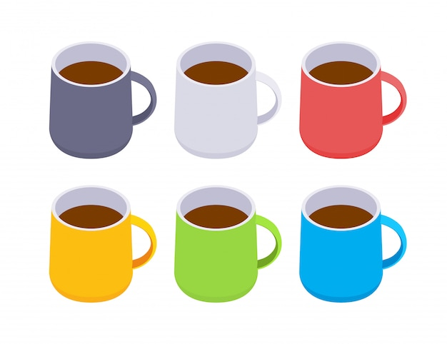 Isometrische farbige kaffeetassen Premium Vektoren
