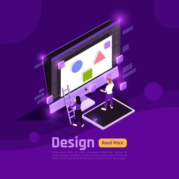 Isometrische farbige personen und schnittstellen leuchten mit banner-design-überschrift und themenvektorillustration Kostenlosen Vektoren
