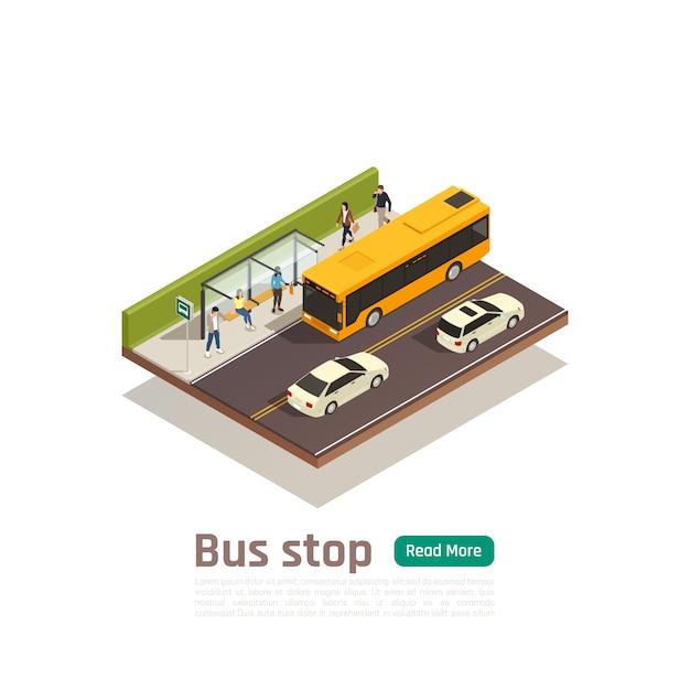 Isometrische farbige stadtzusammensetzungsfahne mit bushaltestellenüberschriftenmenschen sitzen auf der bankvektorillustration Kostenlosen Vektoren