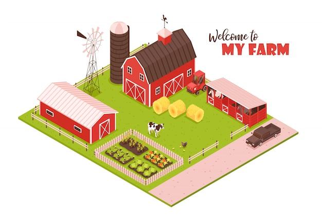Isometrische farmillustration Kostenlosen Vektoren