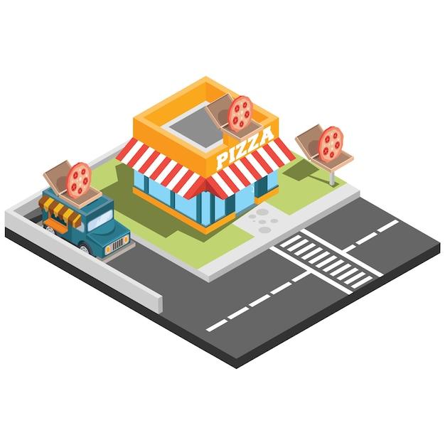 Isometrische fast-food-restaurants Premium Vektoren