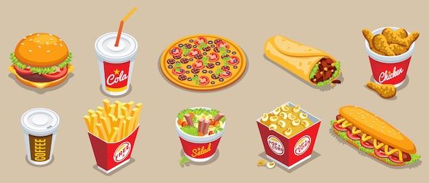 Isometrische fast-food-sammlung mit verschiedenen produkten und getränken Kostenlosen Vektoren