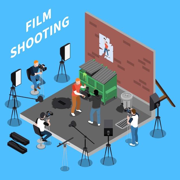 Isometrische filmaufnahmen mit operatoren und schauspielern, die sich mit straßenszenen befassen Kostenlosen Vektoren