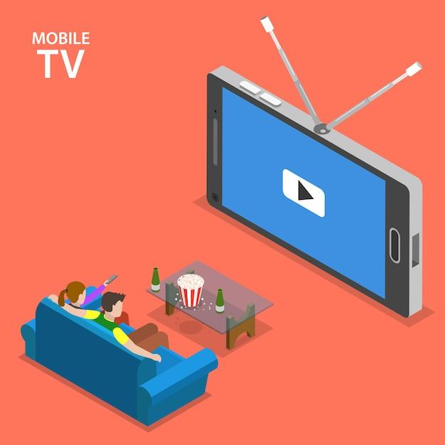 Isometrische flache vektorillustration des mobilfernsehens Premium Vektoren