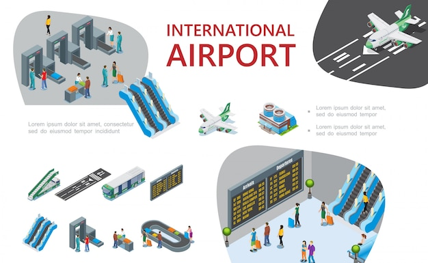 Isometrische flughafenzusammensetzung mit passagieren passieren benutzerdefinierte und passkontrollflugzeuge fluglinien rolltreppen leiter busflugzeuge abflugbrett gepäckförderband Kostenlosen Vektoren