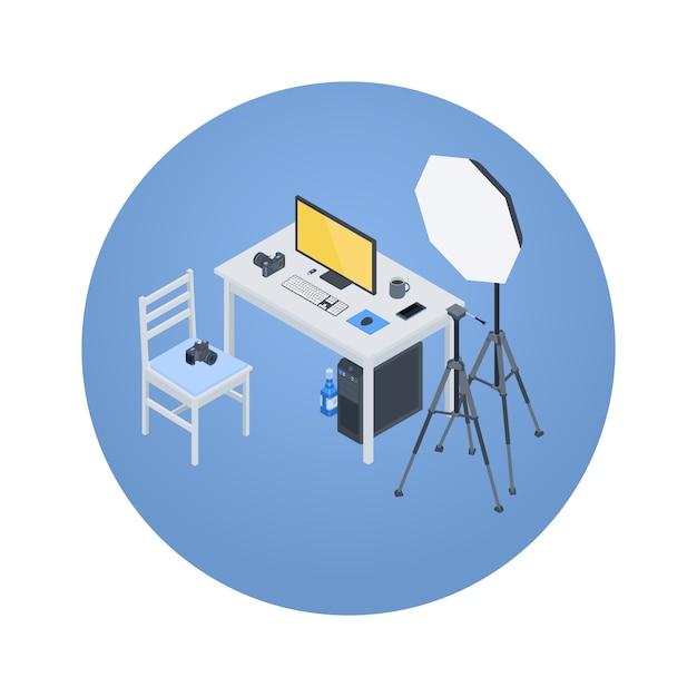 Isometrische fotograf am arbeitsplatz Premium Vektoren