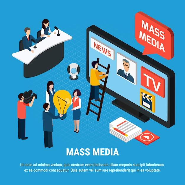 Isometrische fotovideokomposition mit massenmedien-nachrichtenreportern und journalistencharakteren mit bearbeitbarem text Kostenlosen Vektoren