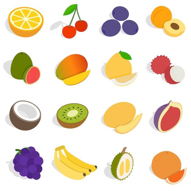 Isometrische fruchtikonen eingestellt. für netz und bewegliches ui zu verwenden universalfruchtikonen, satz grundlegende fruchtelemente lokalisierte vektorillustration Premium Vektoren