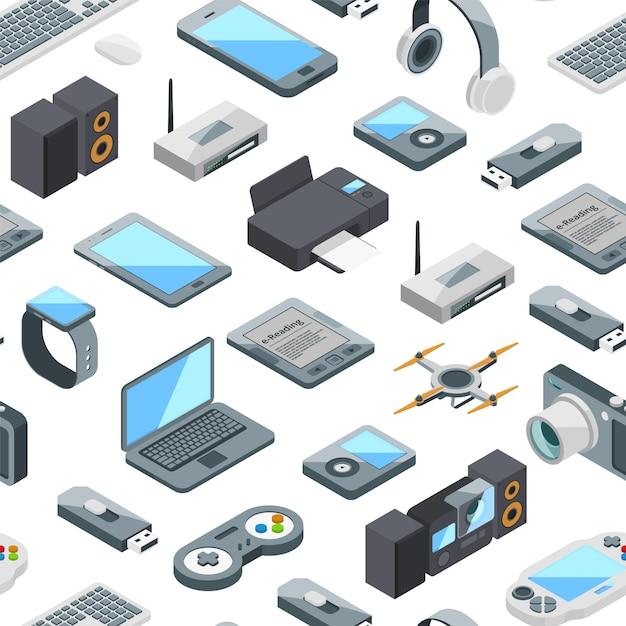 Isometrische gadgets symbole muster oder illustration Premium Vektoren