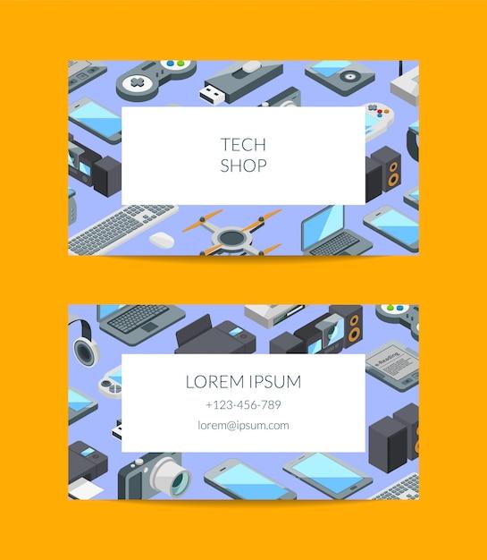 Isometrische gadgets symbole visitenkarte Premium Vektoren
