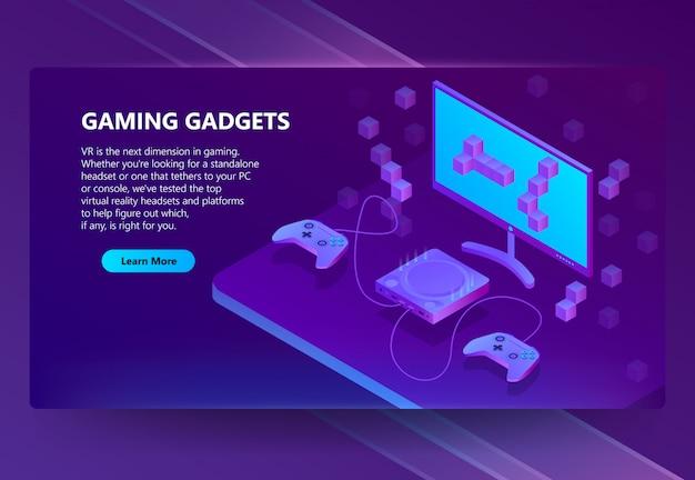 Isometrische gaming-website, elektronische geräte Kostenlosen Vektoren