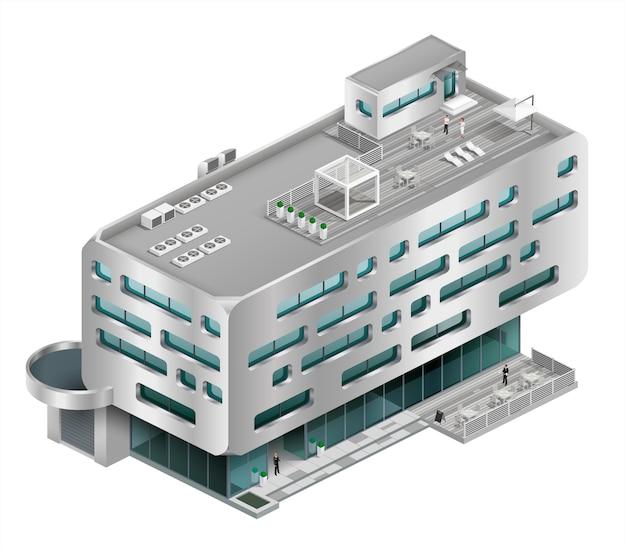 Isometrische gebäude einkaufszentrum Premium Vektoren