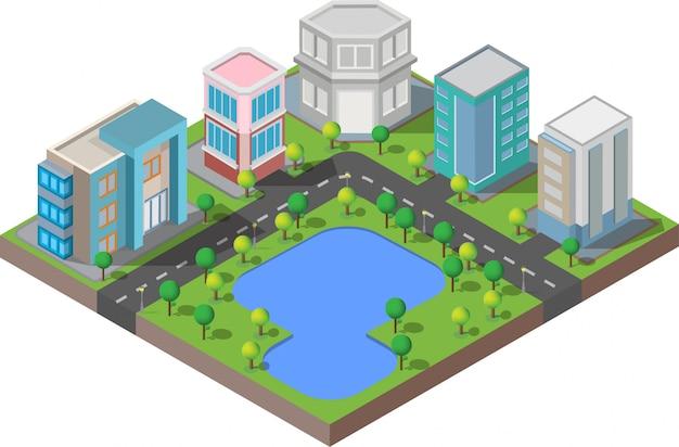 Isometrische gebäude. sie sind auf hof mit straße und bäumen intelligente stadt und allgemeiner park Premium Vektoren