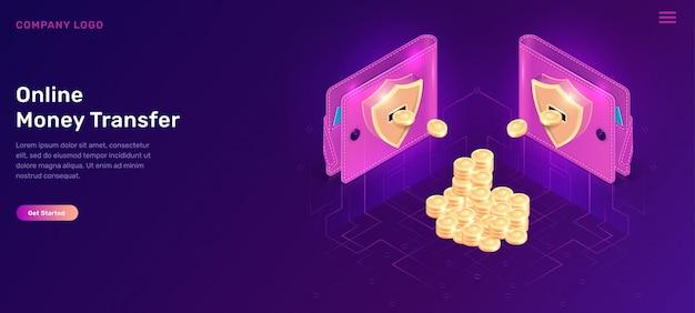 Isometrische geldbörsen der on-line-geldüberweisung mit münzen Kostenlosen Vektoren