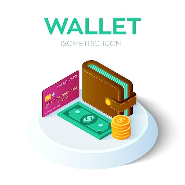 Isometrische geldbörsenikone 3d mit kreditkarte und geld. dollar. bankkarte. zahlung . Premium Vektoren