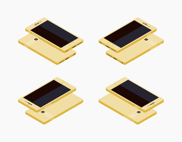 Isometrische generische weiße smartphone Premium Vektoren