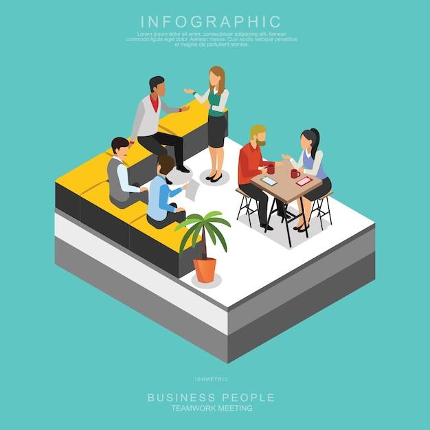 Isometrische geschäfts-leute teamwork, das im büro sich trifft Premium Vektoren
