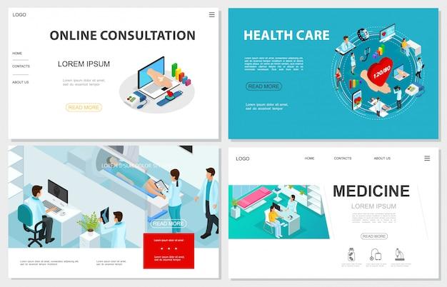Isometrische gesundheitswebsites mit mrt-scan-verfahren ärzte patienten online-medizinische beratung und digitale medizin elemente Premium Vektoren