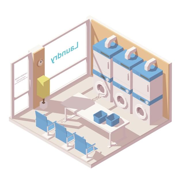 Isometrische gewerbliche wäsche Premium Vektoren