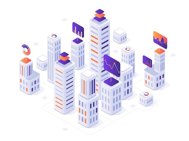 Isometrische großstadt infographik. stadtgebäude, futuristische städtische und stadtgeschäftslokal-bezirksmetriken 3d illustration Premium Vektoren