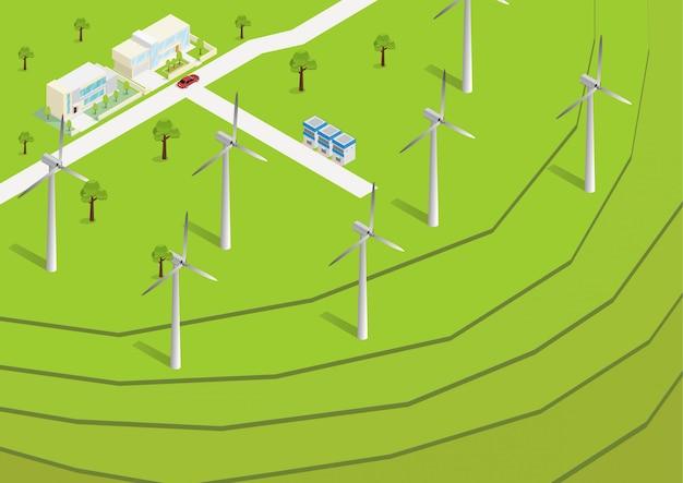 Isometrische grüne reisterrassen-antenne Premium Vektoren