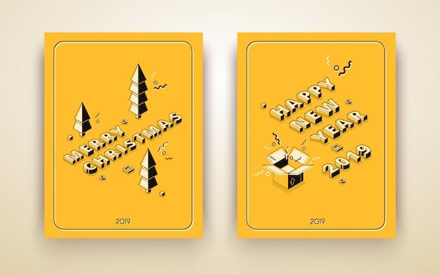 Isometrische grußkarte der frohen weihnachten und des guten rutsch ins neue jahr, feiertagsplakat Kostenlosen Vektoren