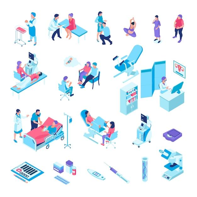 Isometrische gynäkologie-schwangerschaft stellte mit lokalisiertem s der prüfungstuhlmedikation der medizinischen anlagen und der menschlichen charaktere ein Kostenlosen Vektoren