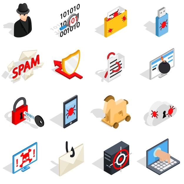 Isometrische hacking ikonen 3d eingestellt. die für das netz und mobile ui zu verwendenden universal hacking-ikonen, satz grundlegende hacking elemente lokalisierten vektorillustration Premium Vektoren