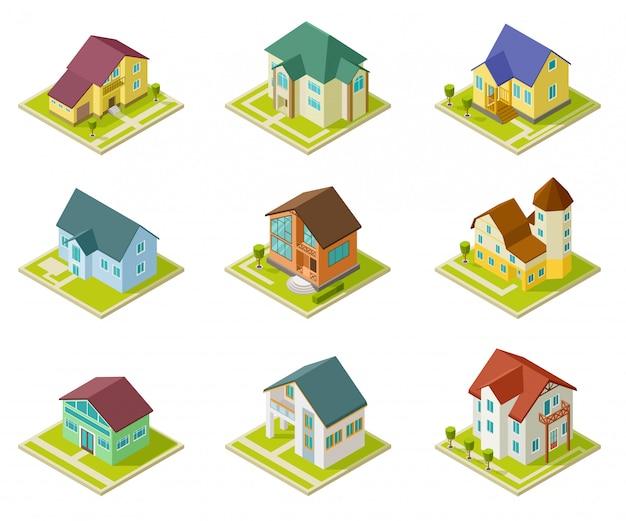 Isometrische häuser. bau von landhäusern und ferienhäusern. städtischer außensatz der wohnung 3d Premium Vektoren