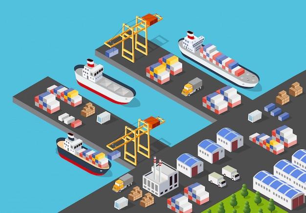 Isometrische hafenfrachtschiff Premium Vektoren