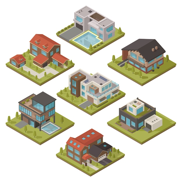 Isometrische haus-icon-set Kostenlosen Vektoren