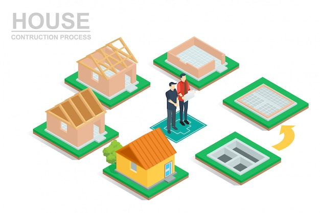 Isometrische hausbauprozess. Premium Vektoren