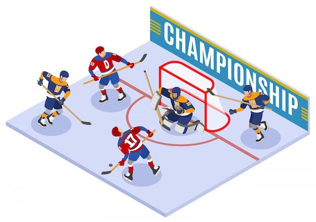Isometrische hockey-meisterschafts-komposition mit stürmer-slapshot-punkten und schützendem torwart in der torfalte Kostenlosen Vektoren