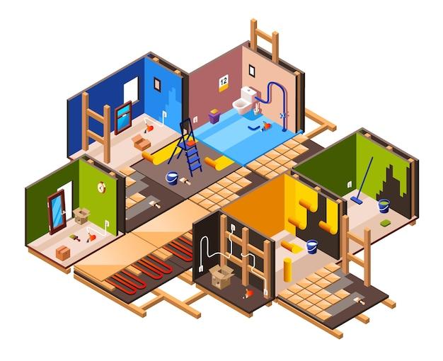 Isometrische home interior renovierung und reparatur arbeit prozessstufen im haus querschnitt. Kostenlosen Vektoren