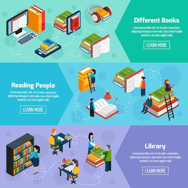 Isometrische horizontale banner der bibliothek Kostenlosen Vektoren
