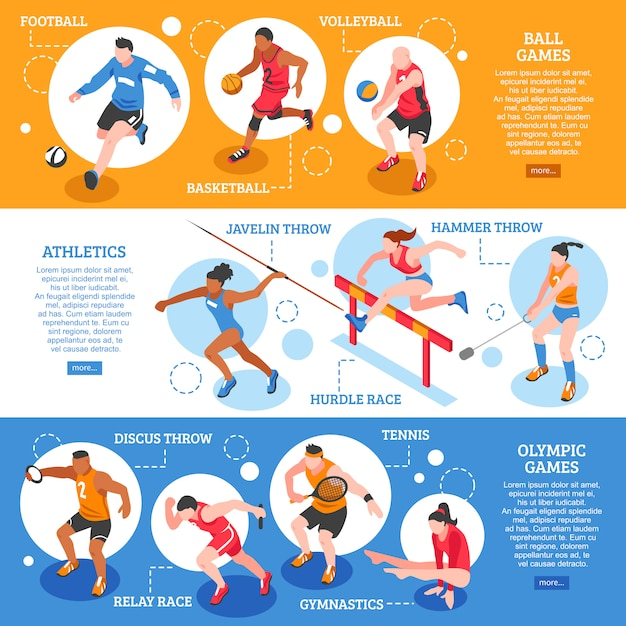 Isometrische horizontale banner der sportler Kostenlosen Vektoren