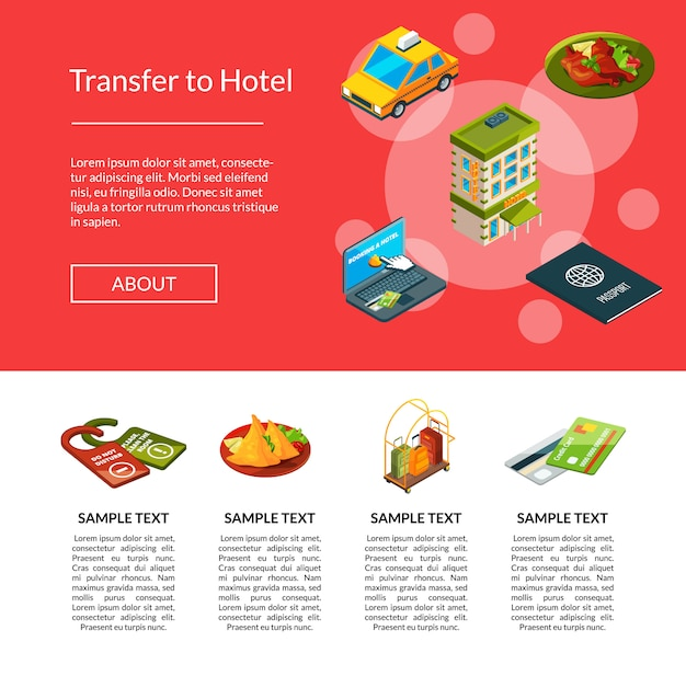 Isometrische hotel icons seite Premium Vektoren