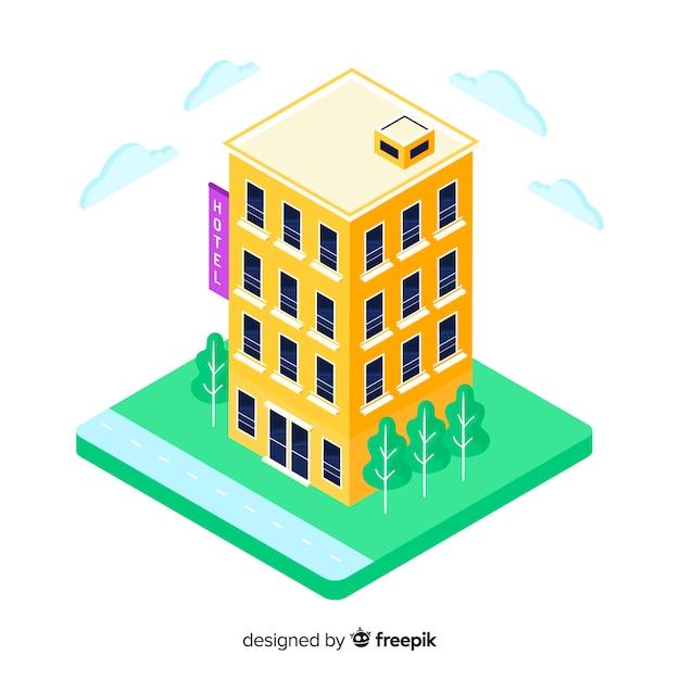Isometrische hotelgebäude Kostenlosen Vektoren
