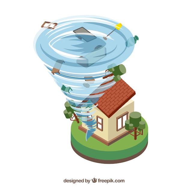 Isometrische hurrikan-design Kostenlosen Vektoren