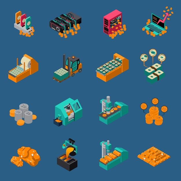 Isometrische icons für geldherstellung Kostenlosen Vektoren