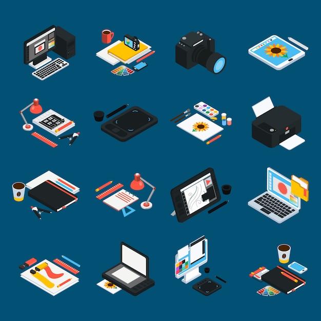 Isometrische icons für grafikdesign Kostenlosen Vektoren